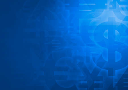 Currency symbol on bright blue for financial business background Stockfoto