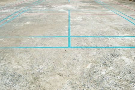 overlapped: Overlapped lines in concrete court, sport background Stock Photo