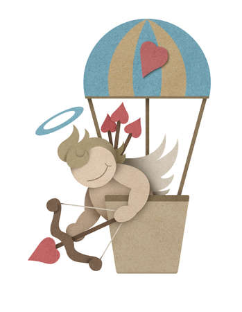 Cupid shoot bow in hot air balloon made from recycled paper craft photo