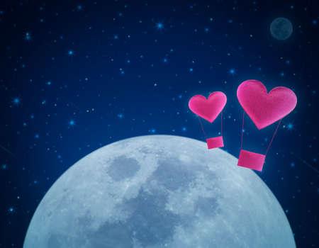 Love heart air balloon on fantasy night sky and moon, love concept