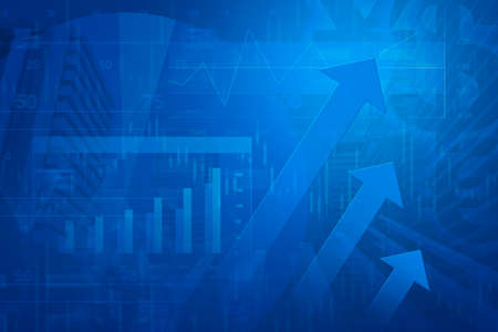 financial report: Arrow head with Financial chart and graphs on city background, blue tone