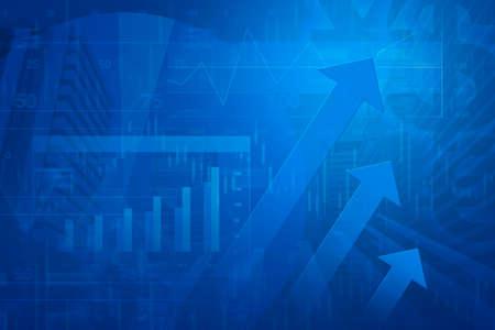 Pijl hoofd met Financiële grafiek en grafieken op de stad achtergrond, blauwe tint Stockfoto - 36226101
