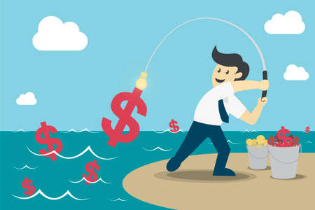 Businessman fishing dollar money, Make Money from idea, vector illustration Çizim