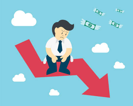 sit down: El hombre de negocios se sienta en el desplome de la flecha stock, el concepto de la caída del mercado de valores Vectores