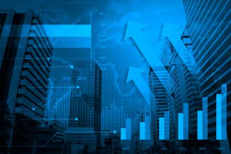 Pijl hoofd met Financiële grafiek en grafieken op de stad achtergrond, Elementen van deze afbeelding geleverd door NASA Stockfoto - 39564577