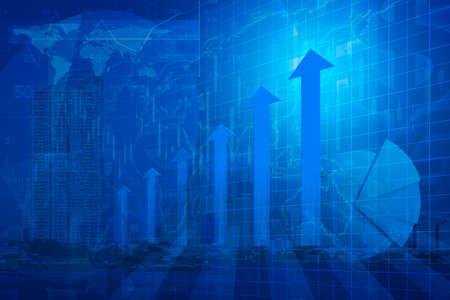 Flèche tête avec tableau financier et graphiques sur le concept d'affaires global de réussite de la ville de fond