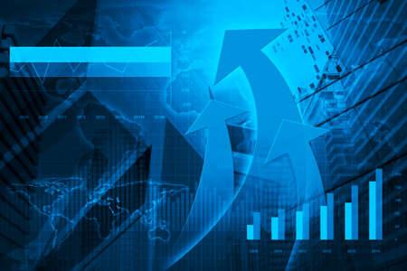 contabilidad financiera cuentas: Arrow cabeza con la carta financiera y gráficos en el fondo de la ciudad