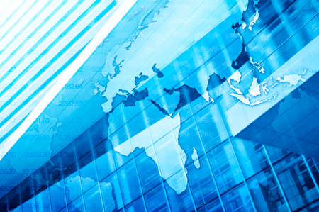 World map on tower background Global business concept Elements of this image furnished by NASA