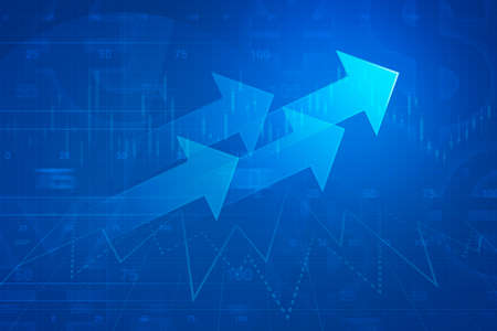 Arrow on financial graph and chart success business concept