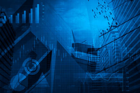 Financial business chart and graph on tower background blue tone Standard-Bild
