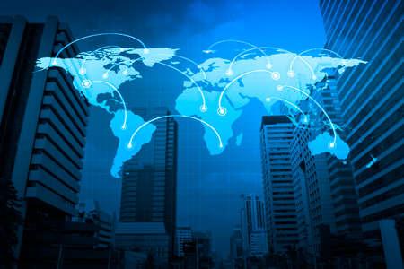 Wereldwijde business-verbinding concept op stadstoren Elementen van deze afbeelding geleverd door NASA Stockfoto - 40696813
