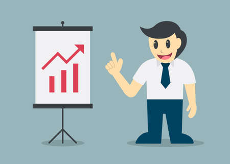 teammate: Businessman presentation to growth graph vector illustration Illustration