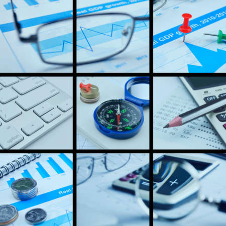 business collage: Business collage pictures finance and success concept Stock Photo