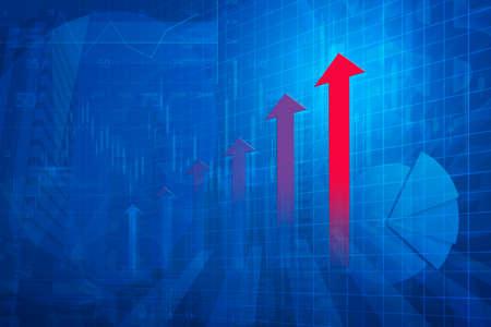 contabilidad financiera cuentas: Red arrowRed flecha cabeza con la carta financieras y gr�ficos en la ciudad de fondo azul de tono