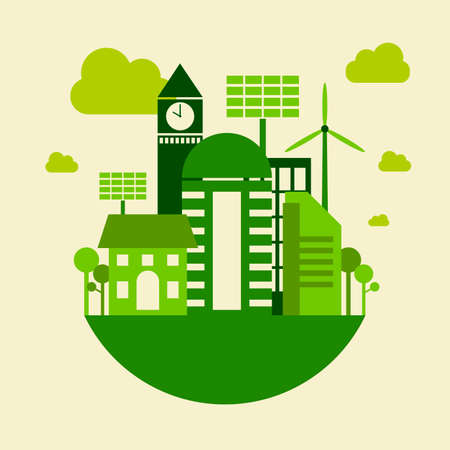 Green city building, save earth concept, vector illustration Illustration