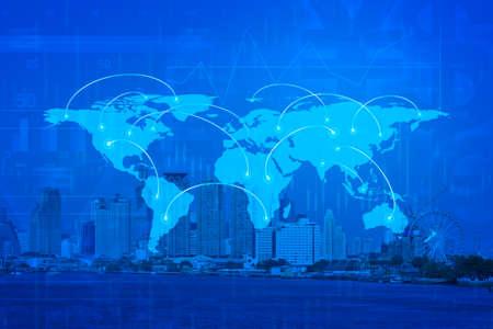 arquitectura: Concepto de conexión de negocios global en la torre de la ciudad.