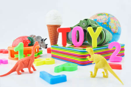 plastic toys: Colorful plastic toys on white background, kid education concept