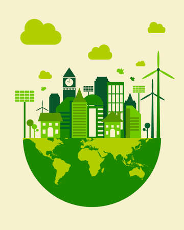 Green city building, save earth concept, vector illustration Stock Illustratie
