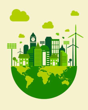 Green city building, save earth concept, vector illustration Vettoriali