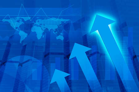 global market: Arrow head with Financial chart and tower, success global concept, Elements of this image furnished by NASA