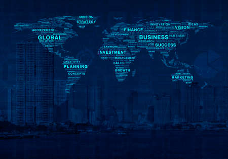 online world: Global business commerce online world concept on city background