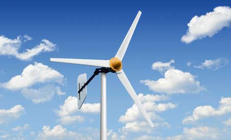 wind force wheel: Wind turbine on bright blue sky