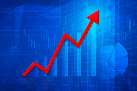 financial graph: Red arrow head with financial chart and graph, success business concept