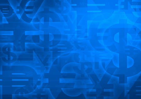 yen sign: Currency symbol on bright blue for financial business background Stock Photo