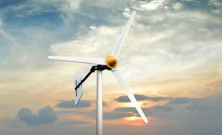wind force wheel: Wind turbine on sunset sky