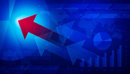 gestion empresarial: La flecha roja en el gr�fico de la carta financiera y, concepto de negocio de �xito, elementos de esta imagen proporcionada por la NASA