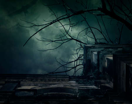 Spooky ancient building with full moon and bird, Halloween background