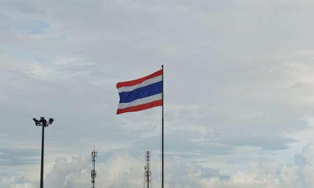 thai flag: Thai flag waving against evening sky