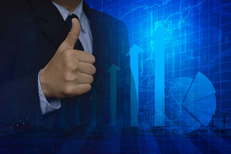 goal: Businessman with thumbs up and arrow head with financial graph, Elements of this image furnished by NASA