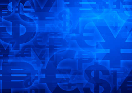 currency symbol: Currency symbol on bright blue for financial business background Stock Photo