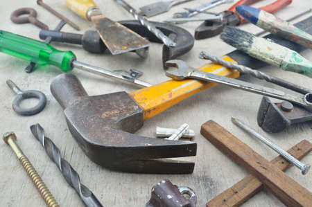 gouge: Assorted old work tools on wooden board