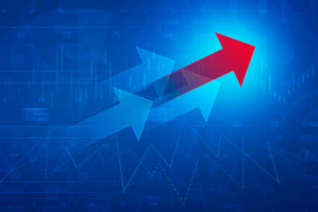 financial market: Red arrow on financial graph and chart, success business concept