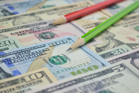 bank note: Pencil on dollar bank note money, Finance concept