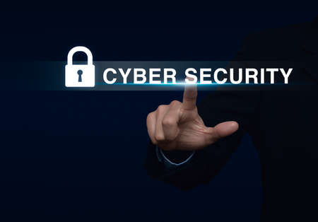 security technology: Businessman pressing security button on virtual screen, Technology information security and data encryption concept