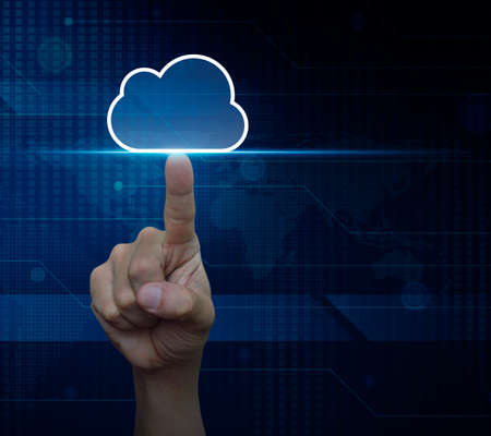 digital data: Man hand click on cloud icon with copy space over digital world map technology style, Elements of this image furnished by NASA Stock Photo