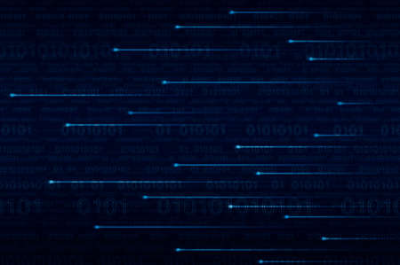 cryptogram: Lighting line with computer binary code on blue background Stock Photo