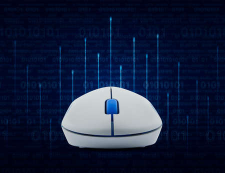cryptogram: Wireless computer mouse over lighting line with computer binary code on blue background Stock Photo