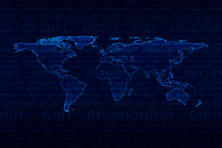 cryptogram: Digital world map over binary code blue background Stock Photo
