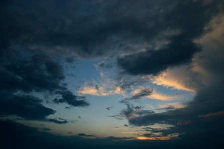 dark sky: Dramatic dark sky before the storm at dusk