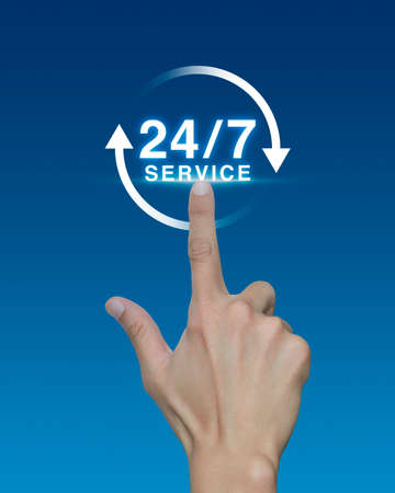 availability: Hand pressing button 24 hours service icon on blue background, Full time service concept