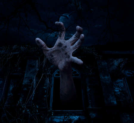 rising dead: Zombie hand rising out from old ancient window with bird fly over dark sky and moon, Halloween concept Stock Photo