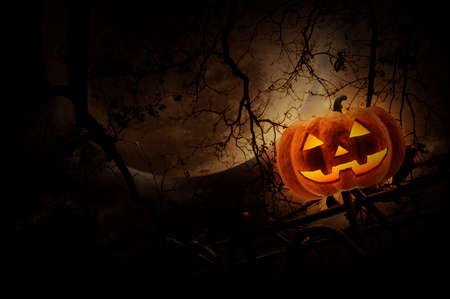 Jack O Lantern pumpkin on old fence over dead tree, moon and cloudy sky, Mystery background, Halloween concept Stock Photo