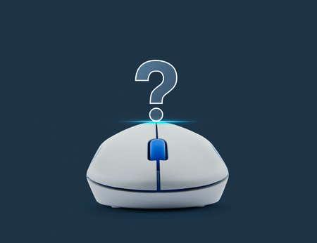 Drahtlose Computer-Maus Mit Fragezeichen Zeichen-Symbol Auf ...