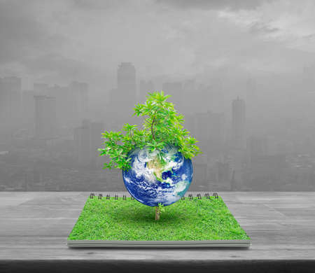 Earth with tree from an open book on wooden table over pollution city tower, Ecology concept, Elements of this image furnished by NASA Reklamní fotografie