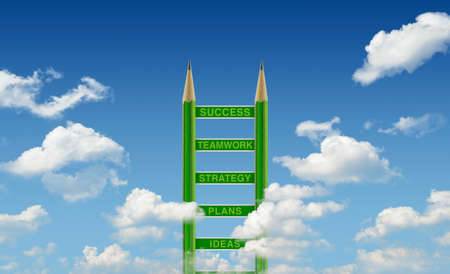 Business words on green pencil ladder over blue sky, Step to success concept