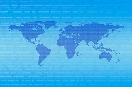 Blue digital dot world map over binary code background, Technology internet communication concept